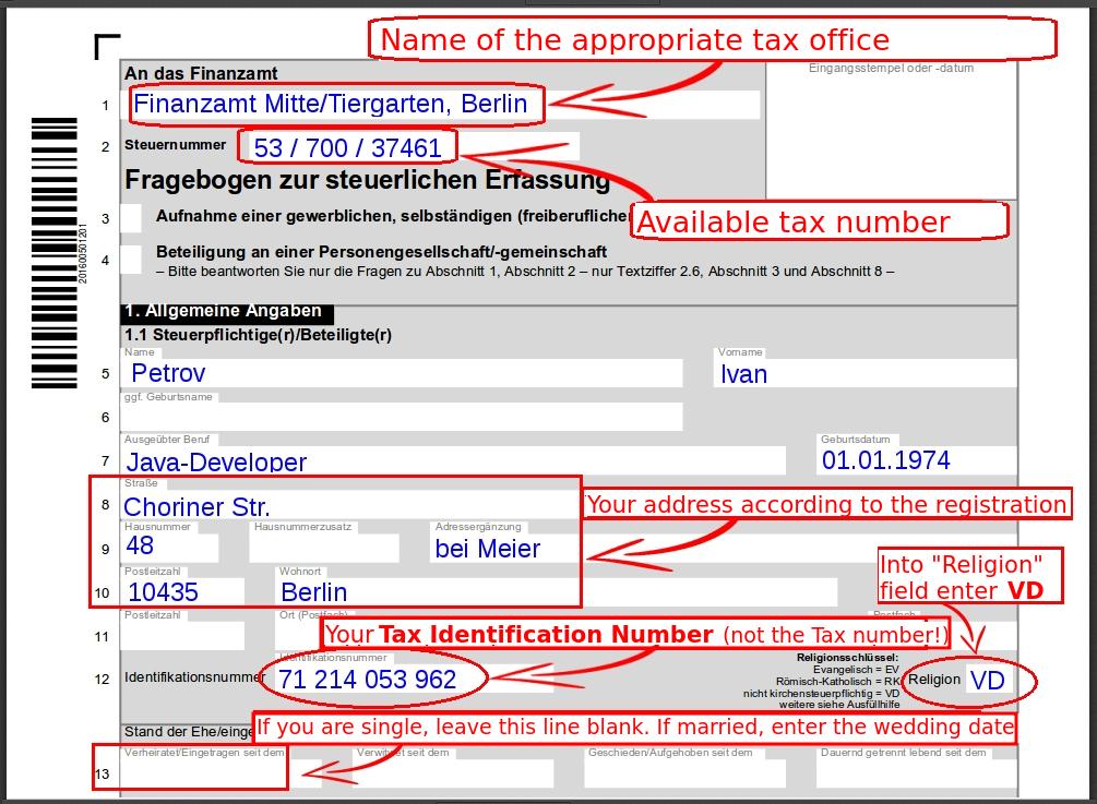 fragebogen zur steuerlichen erfassung gmbh
